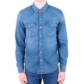 outfit hombres primera cita camisa de mezclilla color claro para vaqueros oscuros