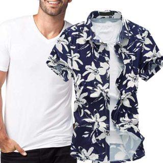 camiseta blanca para camizas hawaianas hombre