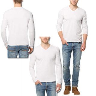 camiseta manga larga cuello en v para hombre outfit hombre atletico