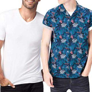 camisetas blancas para camisa con flores hombre