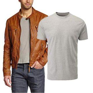 camiseta corta para hombre con chamarra de piel