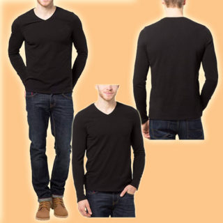 camisetas manga larga color negro entero moda para hombre