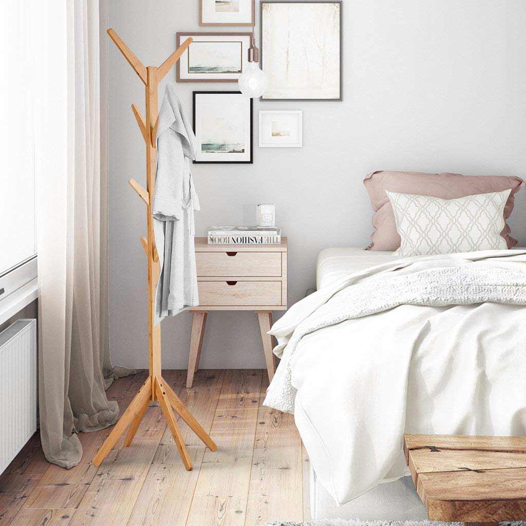 Perchero de madera de bambu diseño minimalista