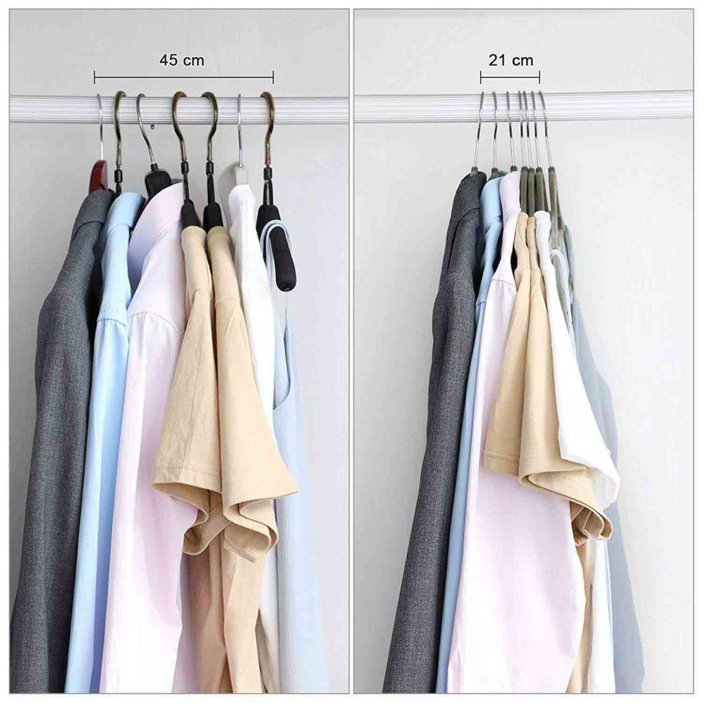 perchas delgadas de terciopelo para ropa