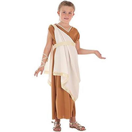 foto del disfraz de noble romana para niña en la representacion de la via crucis
